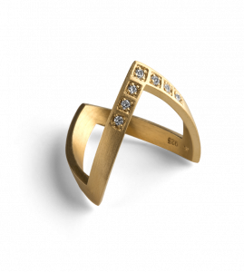 Diamond V Ring, gold plated sterling silver