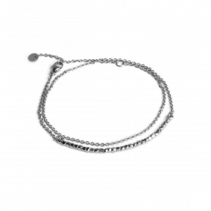 Bead Bracelet with Chain, sterling silver