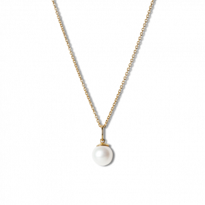 Combination of an Anchor Chain and Big Pearl Pendant, gold-plated sterling silver
