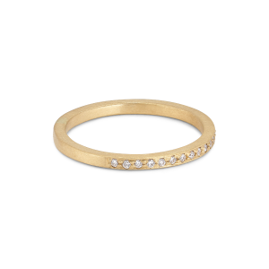 Small alliance ring, semi filled, 18-carat gold, 0,005 ct diamonds