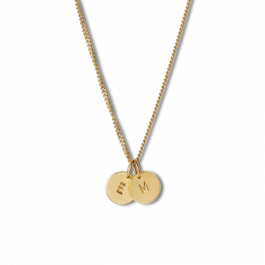 Combination of a Curb Chain and 2 medium Lovetags, gold-plated sterling silver