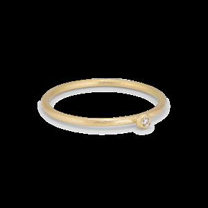 Princess ring, 18-carat gold, 0.01 ct diamond, ball mount
