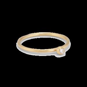 Princess ring, 18-carat gold, 0.03 ct diamond, ball mount