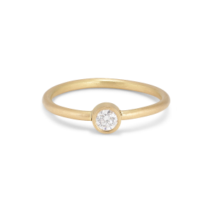 Princess ring, 18-carat gold, 0.10 ct diamond, tube set