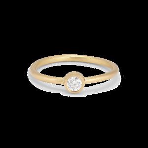Princess ring, 18-carat gold, 0.10 ct diamond, tube set