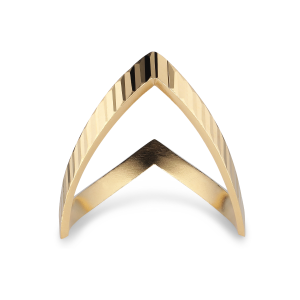 Reflection V-ring, gold-plated sterling silver