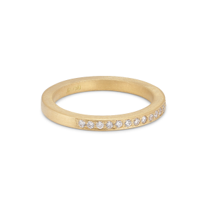 Large alliance ring, semi filled, 18-carat gold, 0,01 ct diamonds