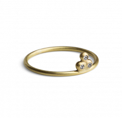 Diamond Temple Ring, gold plated sterling silver