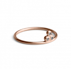 Diamond Temple Ring, rose gold plated sterling silver