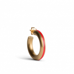 Chunky Hoop with Red Enamel