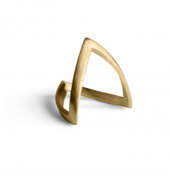 V Ring, gold plated sterling silver