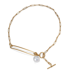 Salon Pearl Necklace, gold-plated sterling silver