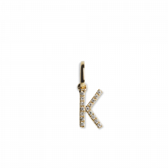 "Letter Pendant with Diamonds ""K"", 18 carat gold"