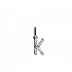 "Letter Pendant with Diamonds ""K"", 18 carat white gold"