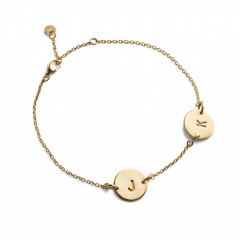 Lovetag Bracelet with 2 Lovetags, gold plated sterling silver