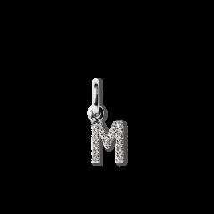 "Letter Pendant with Diamonds ""M"", 18 carat white gold"