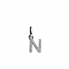 "Letter Pendant with Diamonds ""N"", 18 carat white gold"
