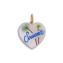 Souvenir Heart with enamel, pendant, gold-plated sterling silver