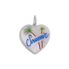 Souvenir Heart with enamel, pendant, sterling silver