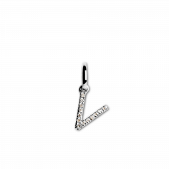 "Letter Pendant with Diamonds ""V"", 18 carat white gold"